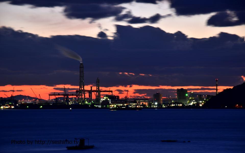 相模坊大権現から坂出工場夜景群を撮影