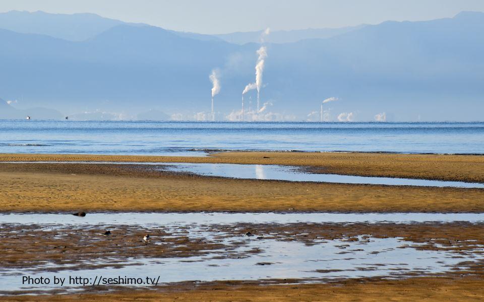 城山公園から日鉄鉱業鳥形山鉱業所を撮影