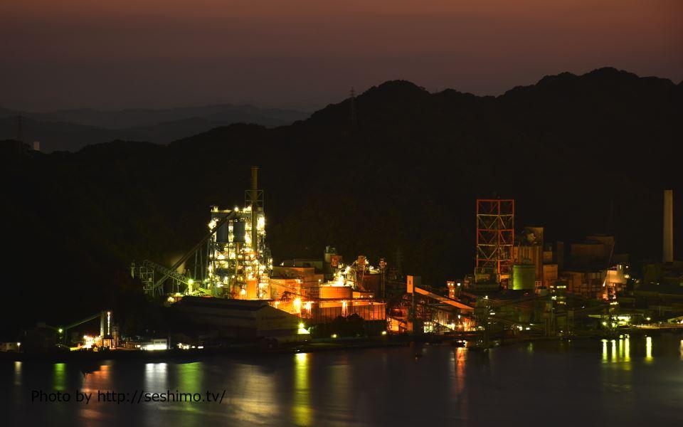 五台山公園展望台から太平洋セメント土佐工場を撮影