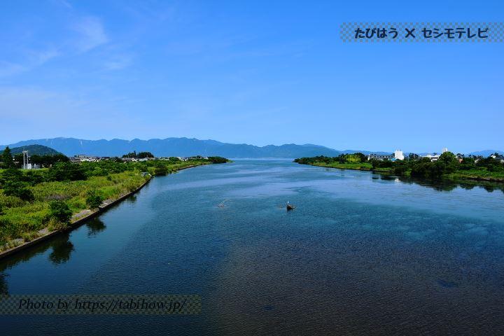 愛知川橋から見る琵琶湖