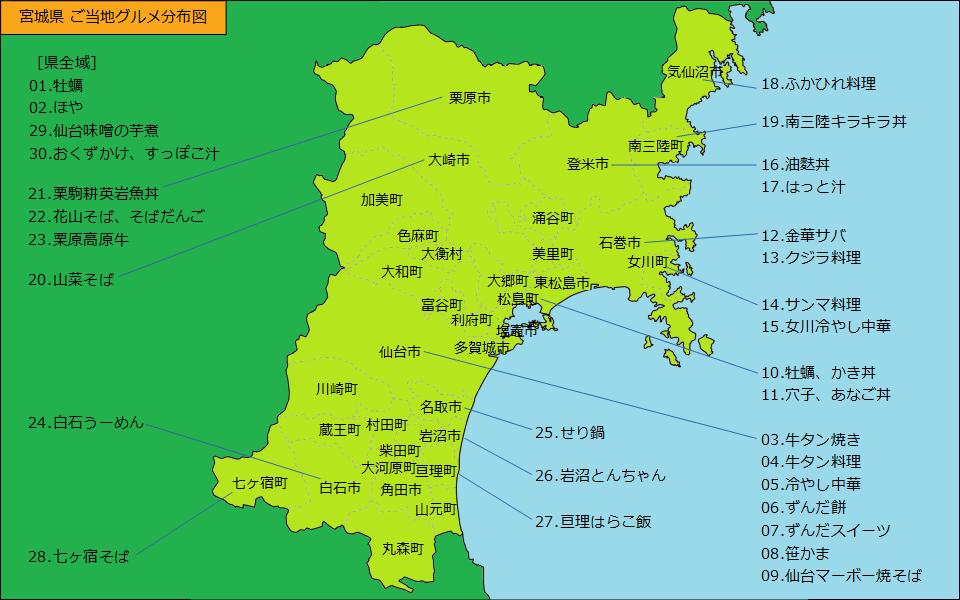 宮城県グルメ分布図