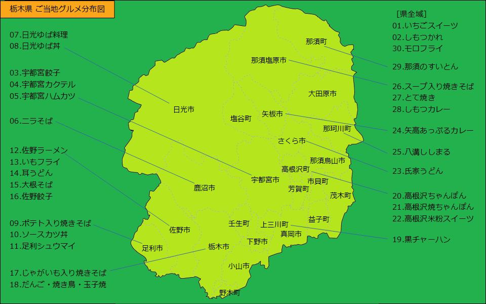 栃木県グルメ分布図