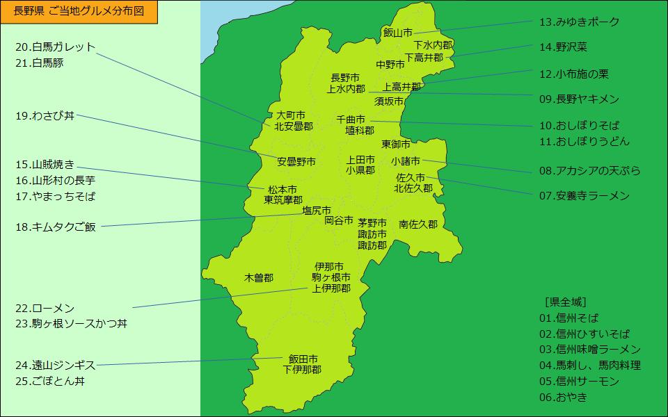 長野県グルメ分布図