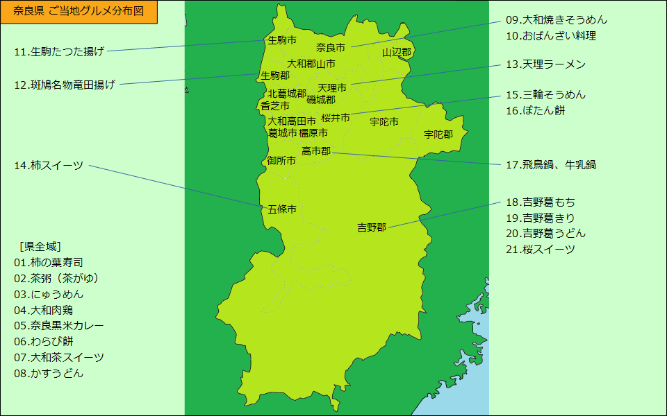 奈良県グルメ分布図