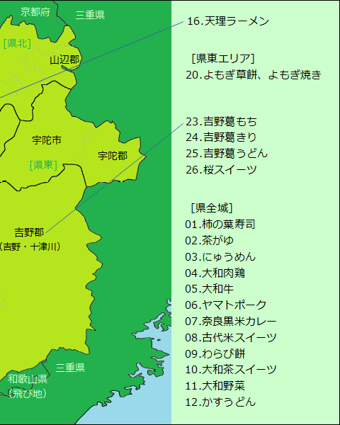 奈良県グルメ分布図(右半分)