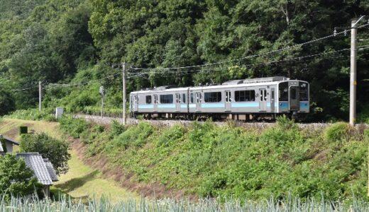 長野県の鉄道写真:夏の田園風景に馴染む単線列車たち